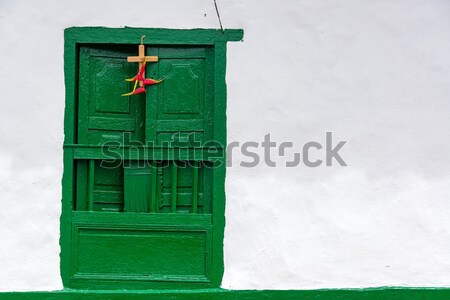 Stock photo: Old Green Door with White Wall