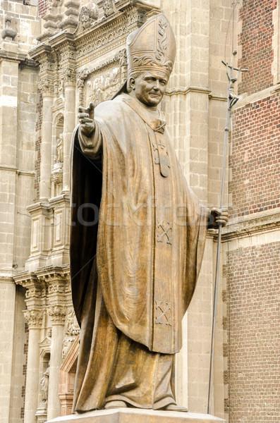 Szobor pápa Mexikóváros bazilika hölgy vallás Stock fotó © jkraft5