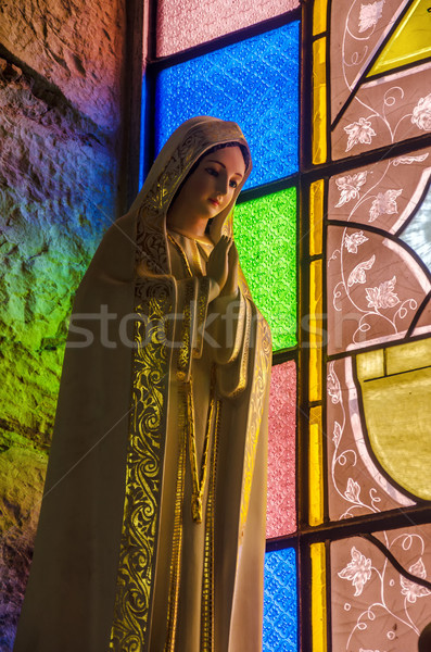 Színes szűz szobor festett üveg templom vallás Stock fotó © jkraft5
