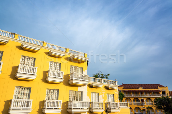 Yellow Building, White Balconies Stock photo © jkraft5