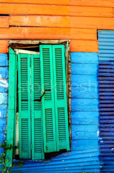 Színes nyomornegyed festett fal LA környék Stock fotó © jkraft5