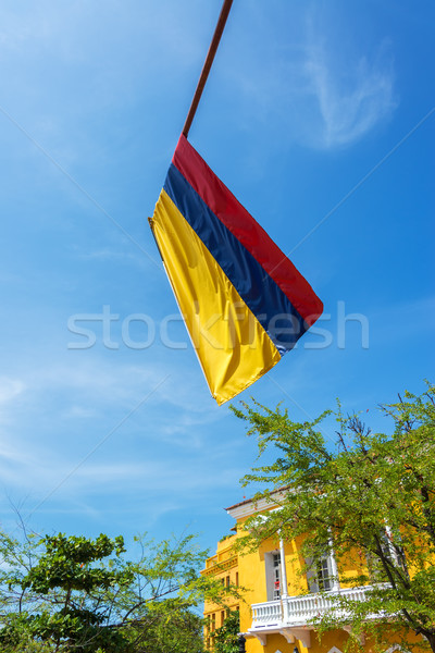 Colombian Flag and Blue Sky Stock photo © jkraft5