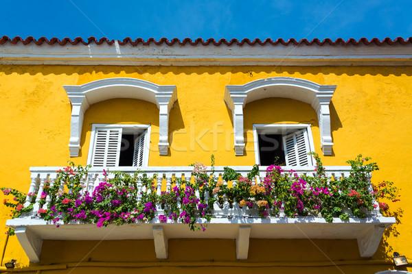 Sömürge balkon sarı beyaz Kolombiya Stok fotoğraf © jkraft5