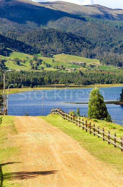 Jezioro Kolumbia brzegu piękna Zdjęcia stock © jkraft5