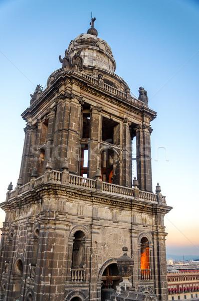 Katedrális harang torony Mexikóváros templom utazás Stock fotó © jkraft5