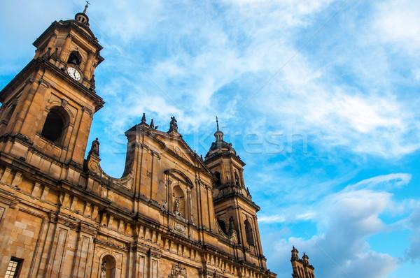 Bogota katedral Kolombiya mavi gökyüzü arkasında Stok fotoğraf © jkraft5