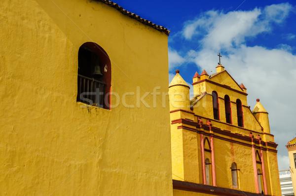 黄色 コロニアル 教会 古い 美しい 青空 ストックフォト © jkraft5