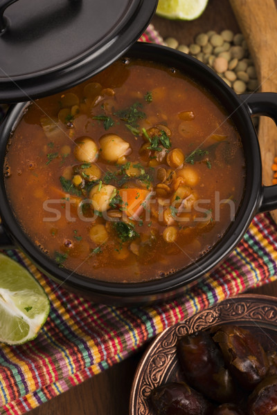 Moroccan traditional soup - harira, the traditional Berber soup  Stock photo © joannawnuk