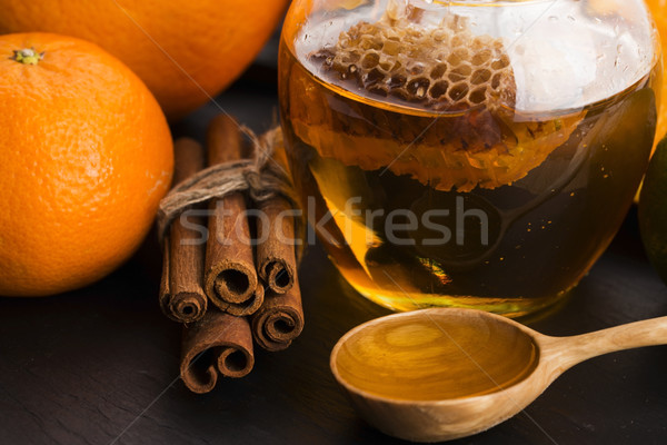 Honing citrus fruit kaneel textuur glas oranje Stockfoto © joannawnuk