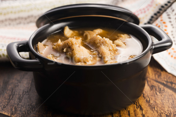 Carne sopa cozinha pão carne branco Foto stock © joannawnuk