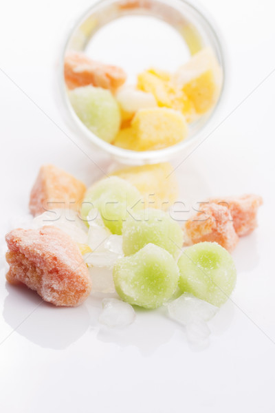 frozen exotic fruits on white background Stock photo © joannawnuk