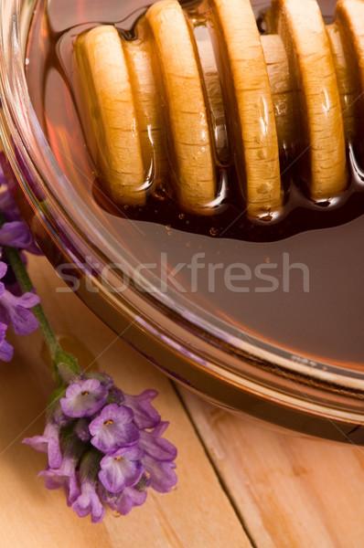 lavender honey with fresh flowers. sweet food  Stock photo © joannawnuk