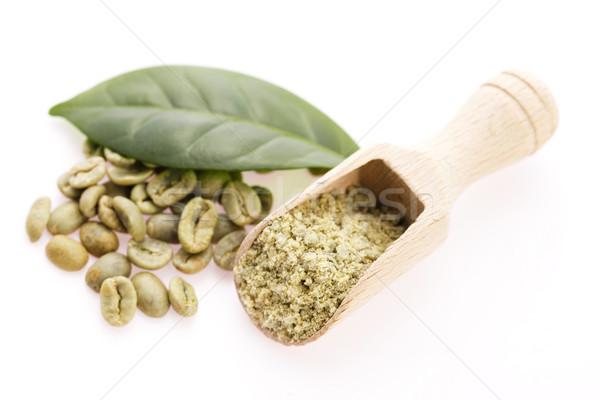 Groene koffiebonen blad koffie dieet concept Stockfoto © joannawnuk