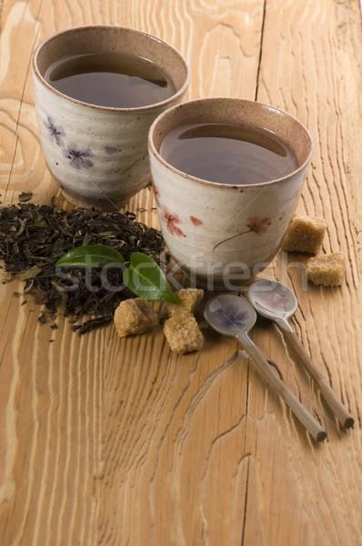 Grüntee Blatt Tee Gold Tasse japanisch Stock foto © joannawnuk