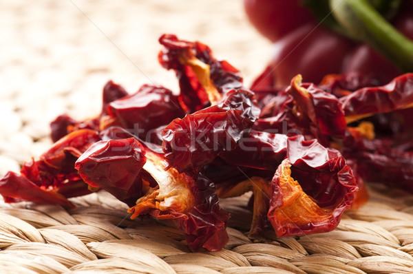 Aszalt piros bors háttér főzés forró Stock fotó © joannawnuk