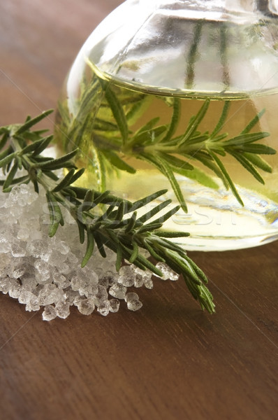 Stock photo: Essential Oil with rosemary and sea salt