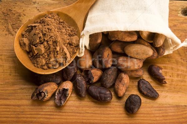 Stockfoto: Cacao · bonen · natuurlijke · houten · tafel · chocolade · plant