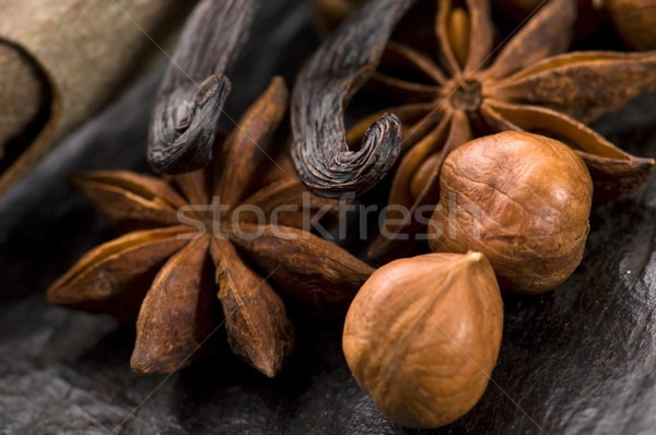 Aromatique épices cassonade noix fond star Photo stock © joannawnuk