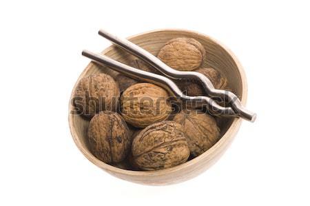 Stock photo: walnuts and nutcracker