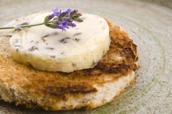 Stockfoto: Kruiden · boter · lavendel · honing · papier · boord