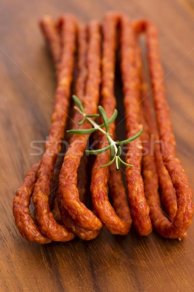 Kabanos - Polish long thin dry sausage made of pork Stock photo © joannawnuk