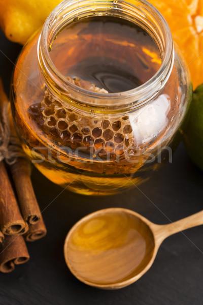 はちみつ かんきつ類の果実 シナモン テクスチャ ガラス オレンジ ストックフォト © joannawnuk