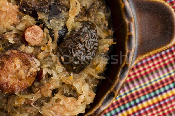 традиционный кислая капуста грибы Рождества растительное Сток-фото © joannawnuk