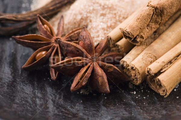 Aromatik baharatlar esmer şeker arka plan star enerji Stok fotoğraf © joannawnuk