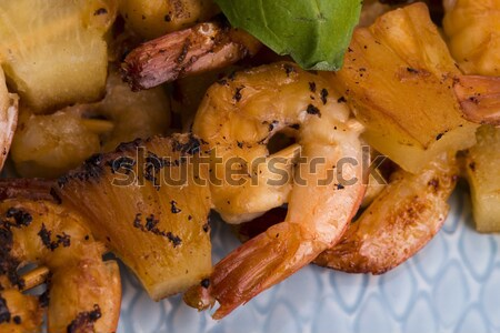 Skewer shrimp with pineapple Stock photo © joannawnuk