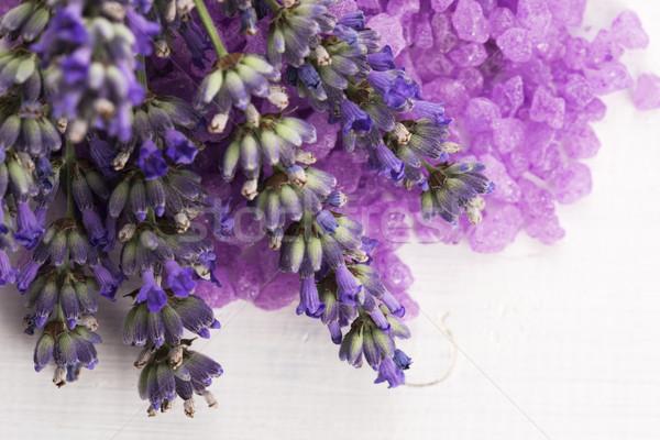 lavender bath salt and some fresh lavender Stock photo © joannawnuk