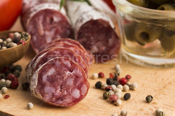 Stockfoto: Spaans · varkensvlees · worst · ontbijt · vet