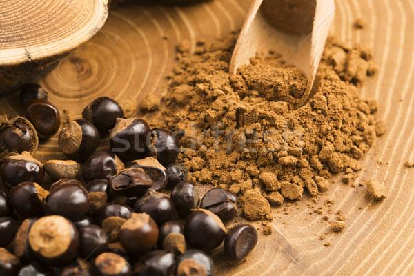 Semi polvere legno caffè impianto dadi Foto d'archivio © joannawnuk