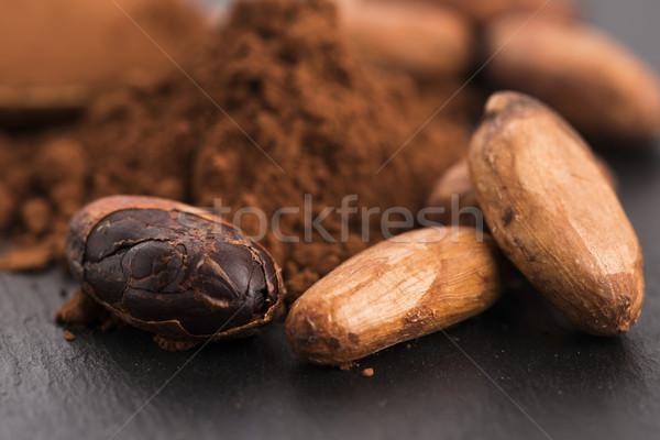 какао бобов ложку продовольствие завода Сток-фото © joannawnuk