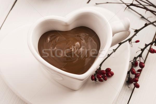Valentin nap ünneplés forró csokoládé terv háttér asztal Stock fotó © joannawnuk
