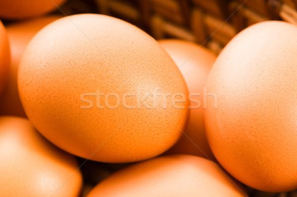 Frescos marrón jaula libre huevos naturaleza Foto stock © joannawnuk