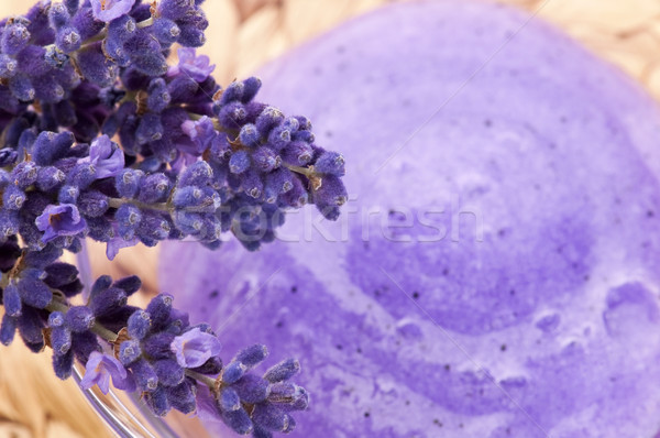 Lavender flowers and jar of glass with peeling Stock photo © joannawnuk