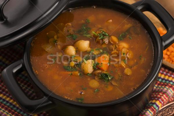 Hagyományos leves Marokkó étel vacsora tányér Stock fotó © joannawnuk