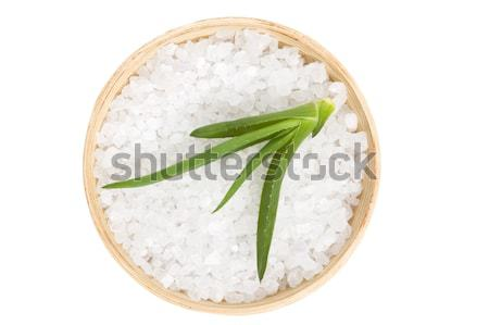 sea salt with rosemary on a wooden spoon Stock photo © joannawnuk