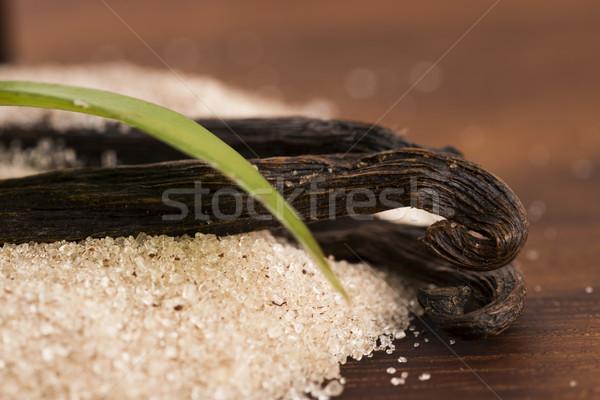 ストックフォト: バニラ · 砂糖 · 豆 · 食品 · 木材 · スプーン