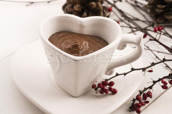 Valentine's day celebration with hot chocolate Stock photo © joannawnuk