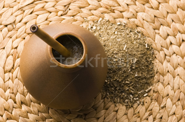 argentinian calabash with yerba mate Stock photo © joannawnuk