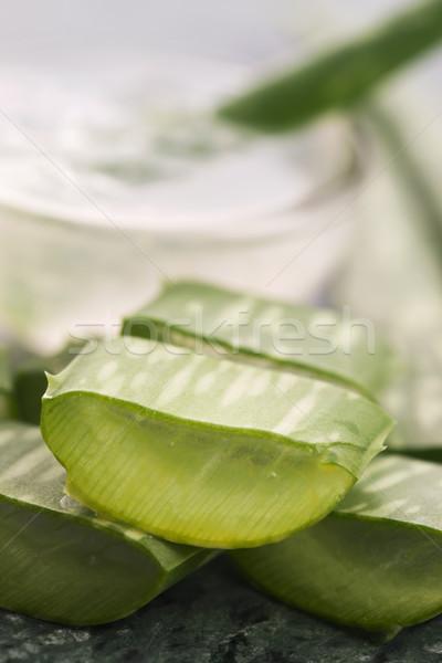 Stock fotó: Aloe · dzsúz · friss · levelek · üveg · egészség