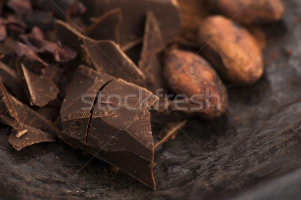 Foto stock: Picado · chocolate · cacau · comida · fundo · bar