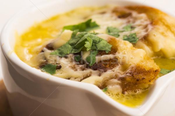 Photo stock: Français · oignon · soupe · bois · fromages · sombre