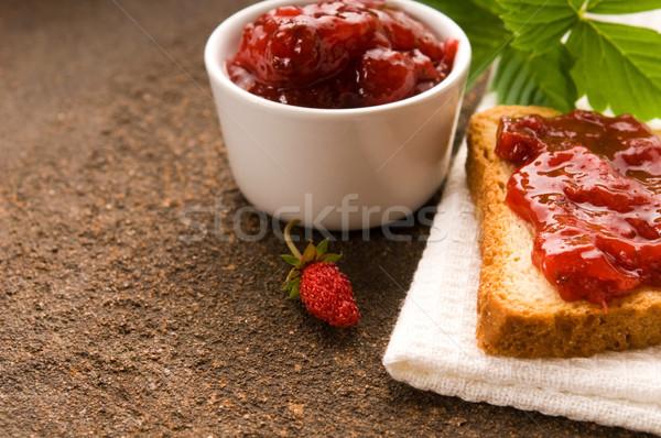 Stok fotoğraf: Reçel · tost · gıda · meyve · cam