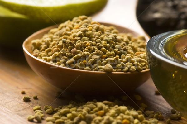 Friss háziméh virágpor étel doboz gyógyszer Stock fotó © joannawnuk