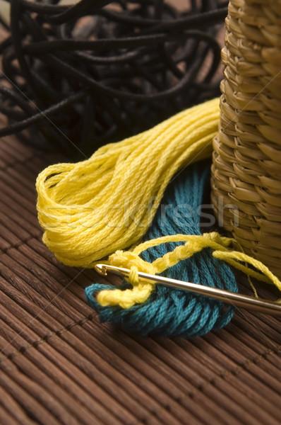 Crochê gancho lã casa verde bola Foto stock © joannawnuk