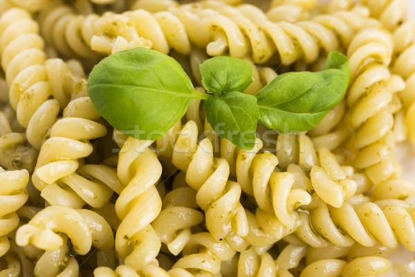 italian fusilli pasta and fresh homemade pesto sauce  Stock photo © joannawnuk