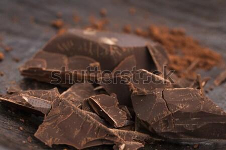切り チョコレート 食品 背景 バー 暗い ストックフォト © joannawnuk