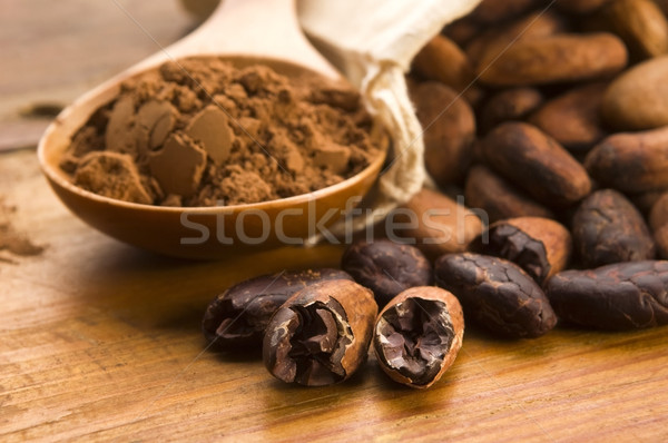 Stockfoto: Cacao · bonen · natuurlijke · houten · tafel · chocolade · keuken